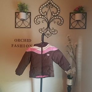 Brown and pink coat